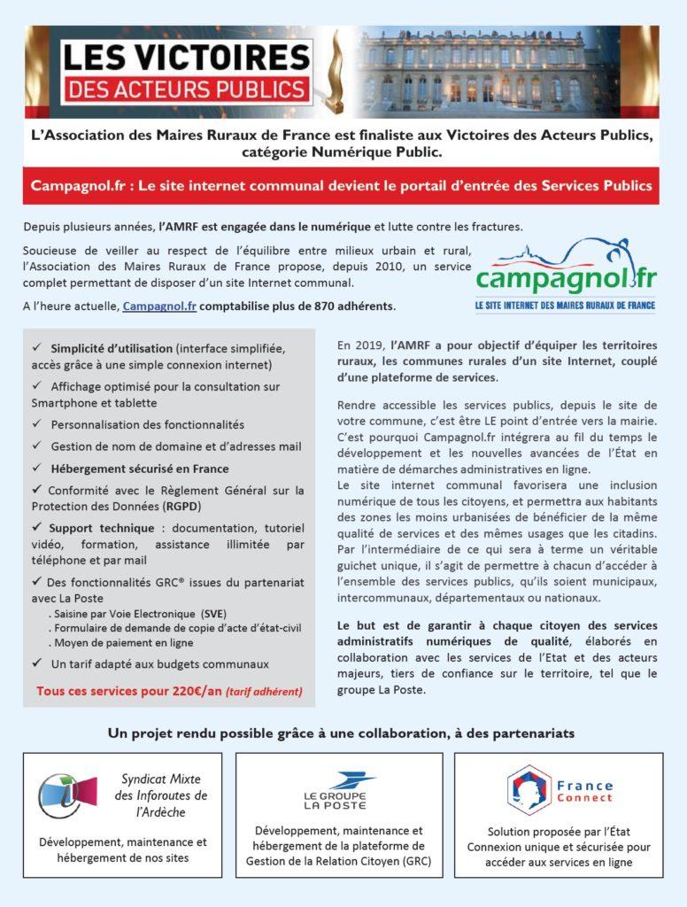 Article paru dans le 36000 Communes de Février annonçant notre nomination et résumant le projet