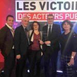 L'AMRF victorieuse (de gauche à droite : Ludovic Bayle, directeur des Inforoutes, Eric Krezel, Président AMR de Haute-Marne, Céline VINCENT, Chargée de mission numérique AMRF, John Billard, Vice-Président de l'AMRF et Laurance Bussière, Présidente AMR de l'Eure)